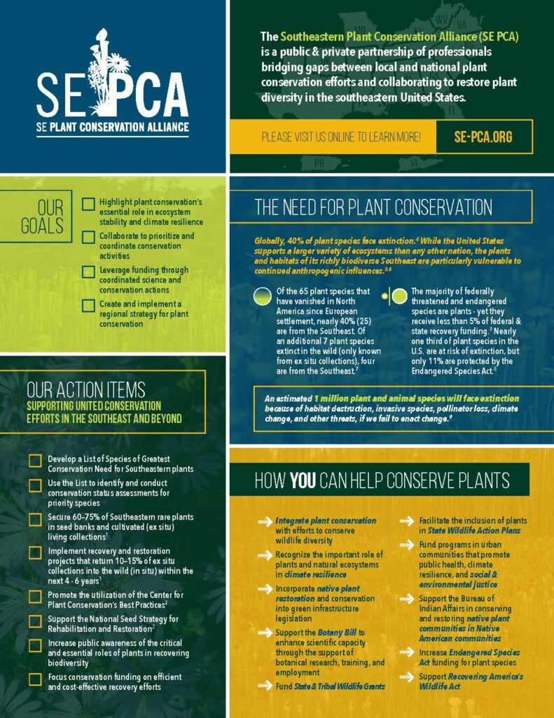 Southeastern plant conservation outreach and advocacy info-sheet